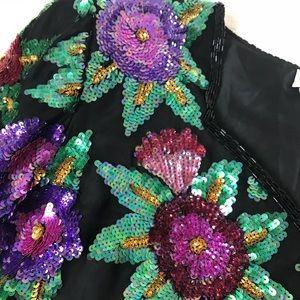New Black floral print sequin vintage top medium